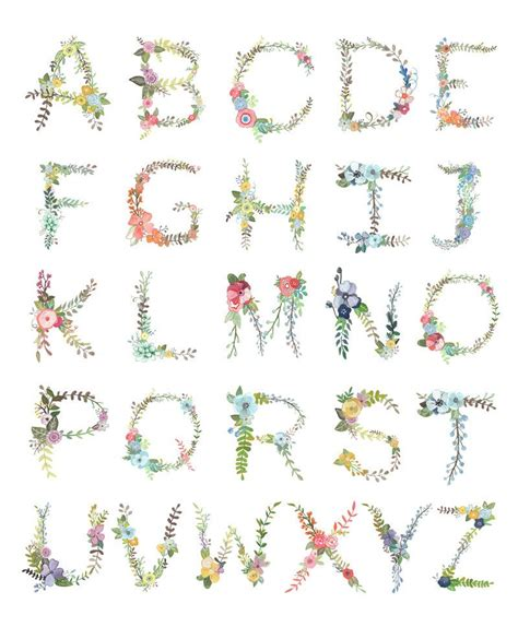 Printable Letters Etsy   floral alphabet print floral etsy and printing