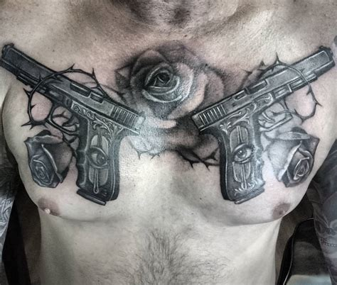 gun tattoo on chest meaning guns and roses tattoo chest www pixshark com images