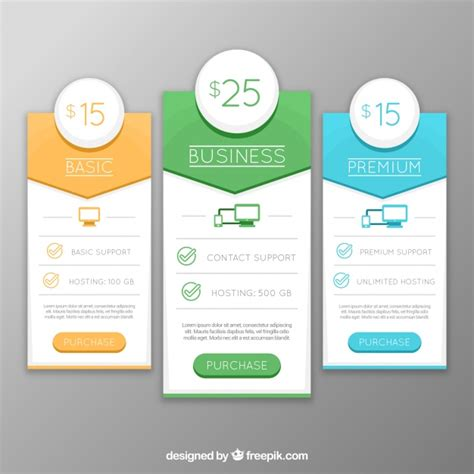 web price plan banners vector free download banners of different web plans in flat design vector