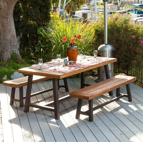 outdoor dining table with bench vintage century rustic metal wood table chairs patio porch outdoor dining set ebay