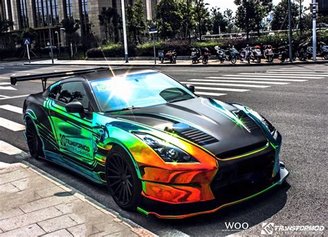 nissan gtr wrapped wild bensopra nissan gt r with rainbow vinyl wrap gtspirit