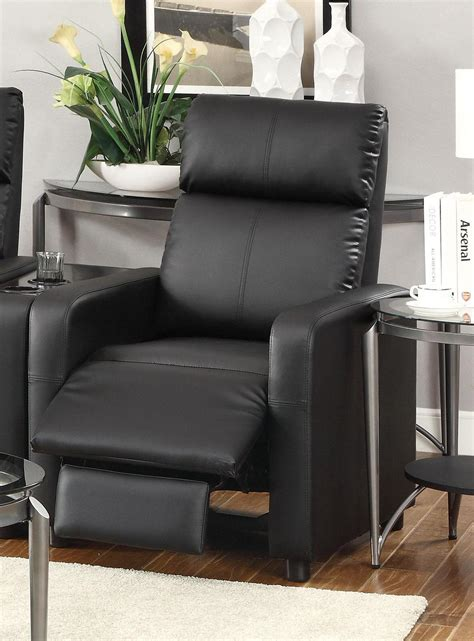 push  chair recliner black vinyl  coaster