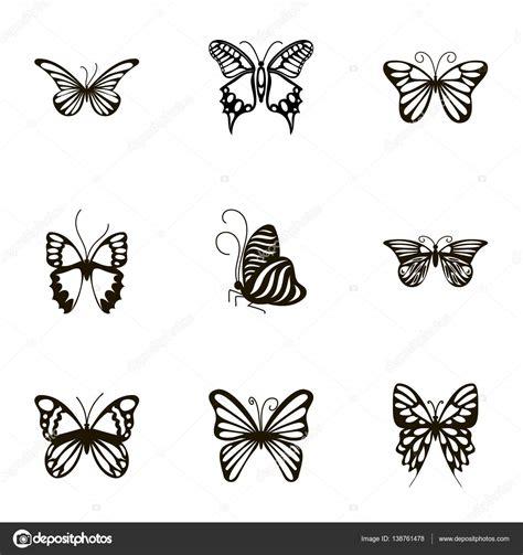 imagenes en blanco y negro de mariposas conjunto de iconos blanco y negro mariposa estilo de