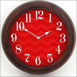 Shabby Chic Beach by Chevron Red Clock The Big Clock Store