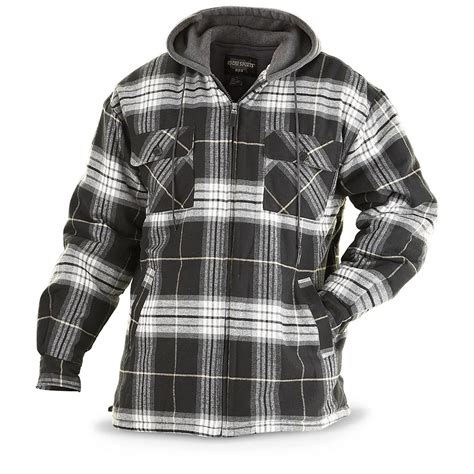 Plaid Shirt Jacket oscar sports plaid hooded shirt jacket 187637 insulated