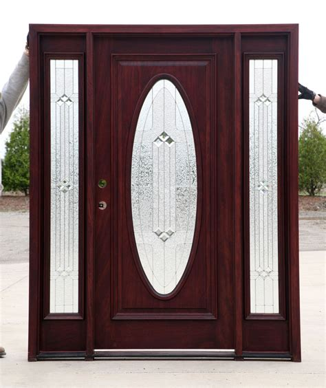 Wholesale Exterior Doors Exterior Doors Cheap Mahogany Wood Doors Exterior With 2 Sidelights Cheap Prehung Exterior