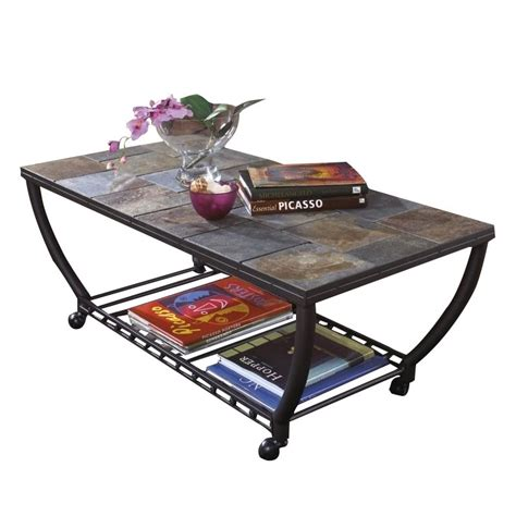 Antigo Coffee Table Antigo Slate Tile Rectangular Coffee Table And Casters In Black T233 0