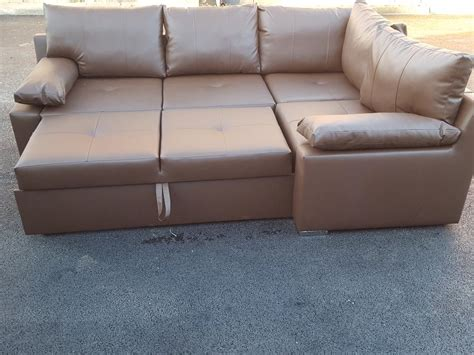 brand new brown leather corner sofa bed with storage can