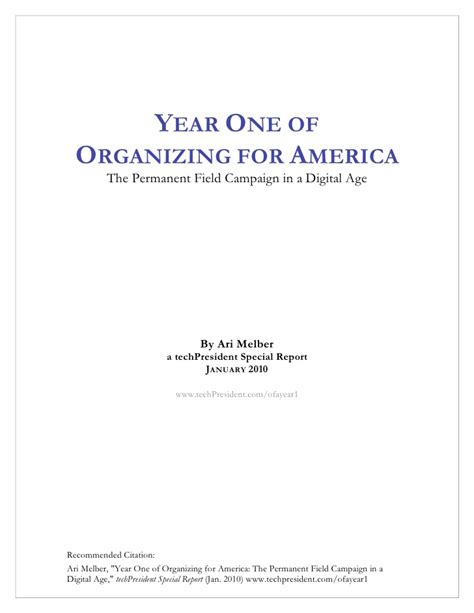 organizer for america year one of organizing for america the permanent caign
