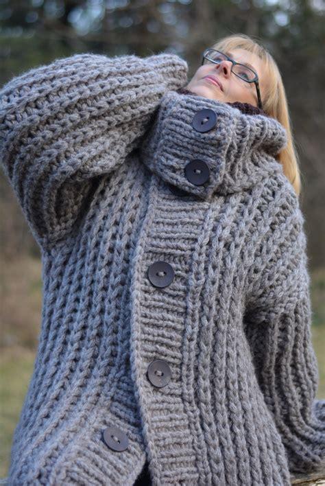 Handmade Coats - order knitted cardigan chunky wool sweater coat handmade