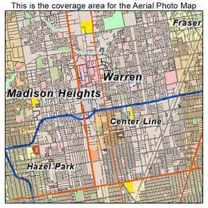 warren map aerial photography map of warren mi michigan