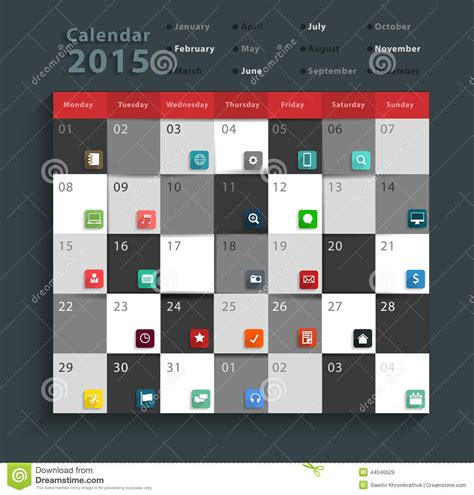 schedule layout graphic design vector calendar 2015 modern business flat icons set stock