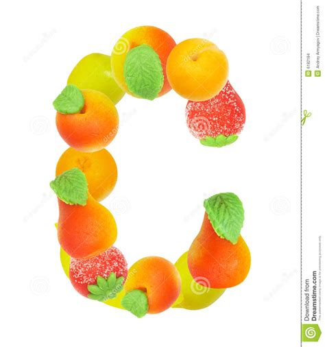 c fruit alphabet from fruit the letter c stock images image