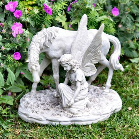 fairy garden statues outdoor garden statues ornaments fairy with a unicorn