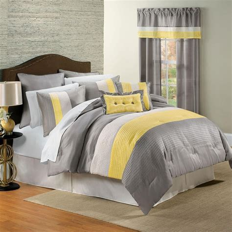 bed comforters sets yellow and gray bedding that will make your bedroom pop