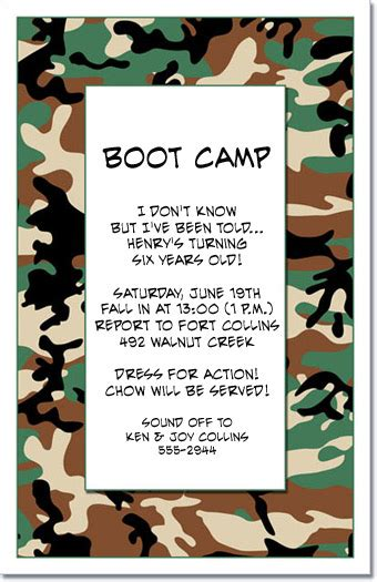 camouflage invitations camo party invitations military