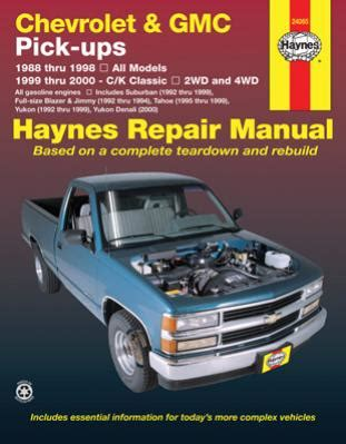 online auto repair manual 1995 chevrolet tahoe electronic valve timing 1988 1998 chevy gmc pick ups 99 00 c k classic haynes repair manual