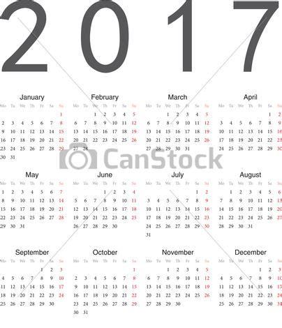 Calendario Can 2017 Vecteur Simple Europ 233 En Carr 233 E Calendrier 2017