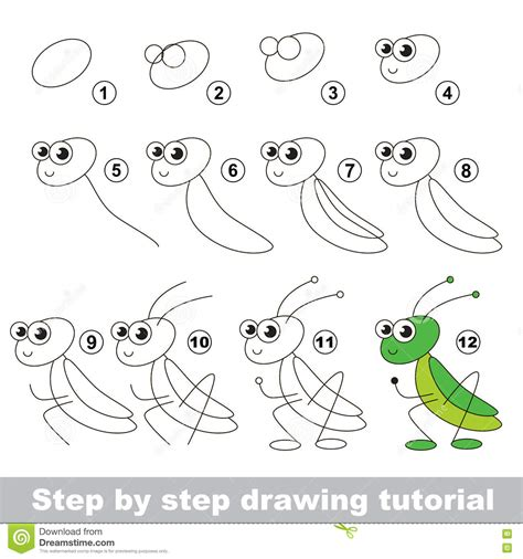 how to make doodle tutorial grasshopper drawing tutorial stock vector illustration