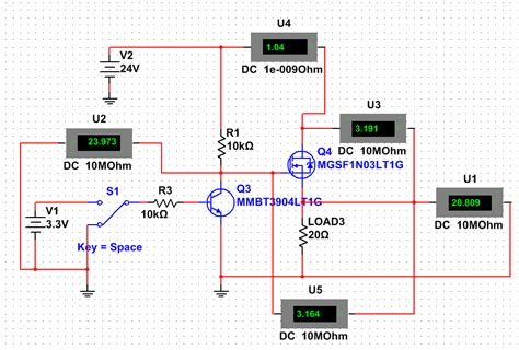 load resistor multisim wrong mosfet transistor model multisim electrical engineering stack exchange