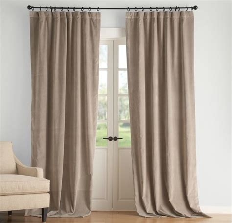 Velvet Drape Taupe Contemporary Curtains Sacramento