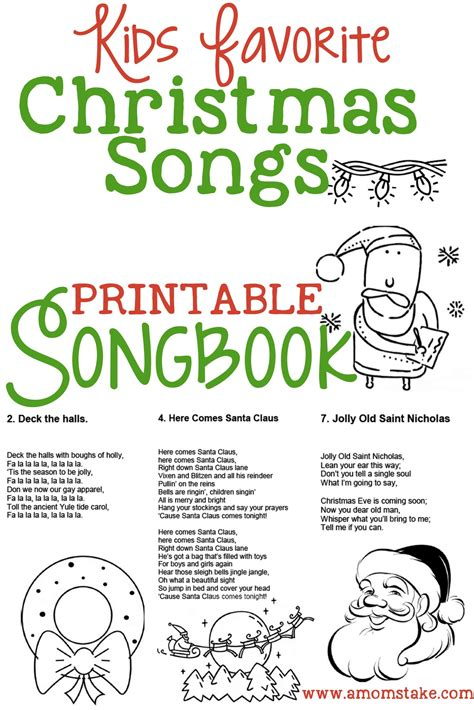 printable christmas songbook christmas songs for kids free printable songbook a