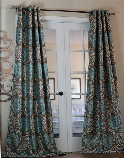 Grey And Teal Curtains Milan Damask Smoky Teal Curtain Panel Contemporary Curtains By Overstock