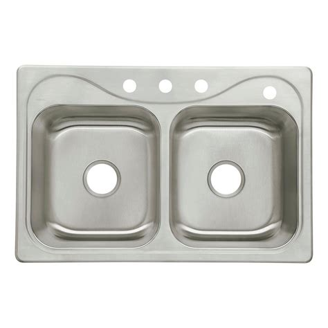 double bowl kitchen sinks sterling southhaven drop in stainless steel 33 in 4 hole