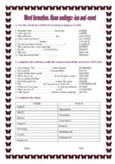 english worksheets word formation nouns ending ion and