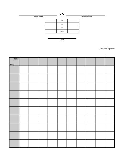 100 square football pool template bowl squares sheet printable panthers