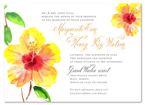 Wedding Announcements Hawaii by Hibiscus Wedding Invitations From Hawaii On Premium