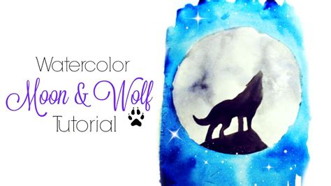 easy moon amp wolf watercolor tutorial youtube