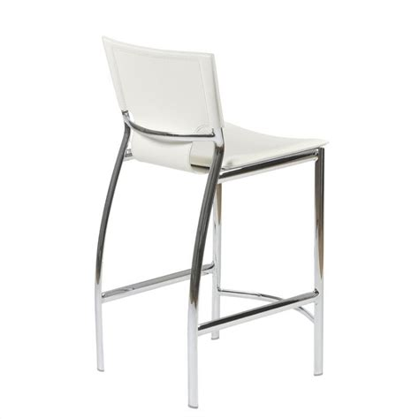 chrome and leather bar stools 24 quot counter stool in white leather and chrome 17213wht