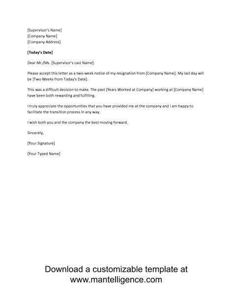 2 week notice letter template mobawallpaper