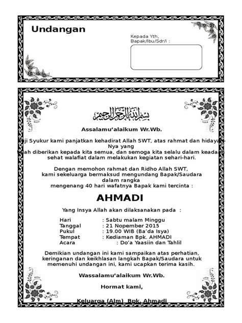 template undangan tahlil 7 contoh undangan tahlil tahlilan terlengkap assalam print