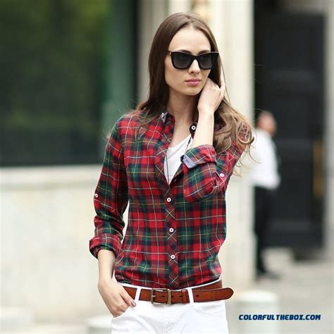 Classic Grid Blouse 27835 cheap classic looks blouses hit color slim and thin cotton sleeved plaid shirt blue