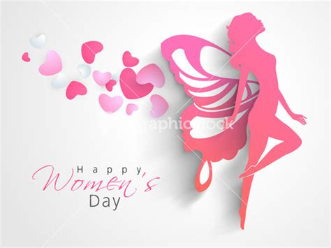 day greeting card design happy womens day greeting card or poster design with pink