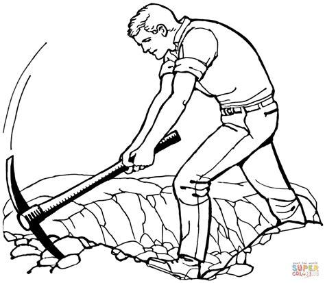 imagenes de hombres trabajando para colorear dibujo de hombre con piqueta para colorear dibujos para