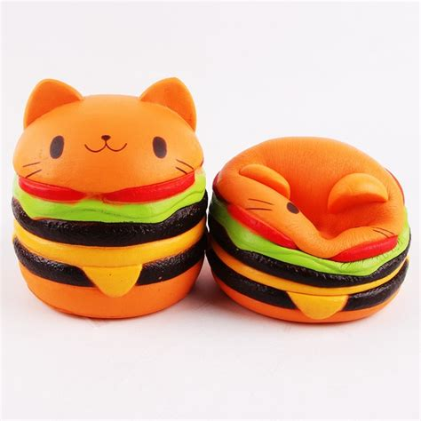 Squishy Burger Jumbo aliexpress buy jumbo kawaii cat hamburger squishy