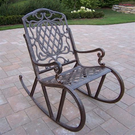 Antique Metal Patio Chairs Shop Oakland Living Mississippi Antique Bronze Aluminum Patio Rocking Chair At Lowes