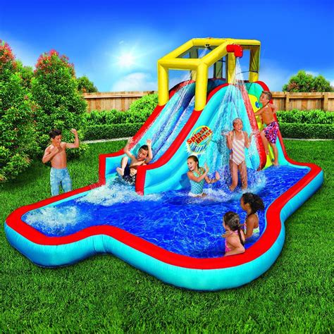 backyard pool water slides banzai splash blast lagoon inflatable outdoor water slide