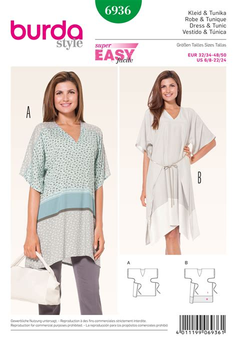 pattern sewing burda burda 6936 dresses