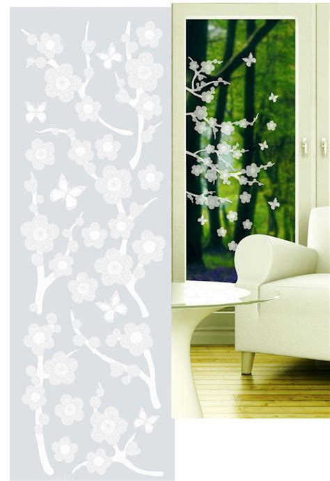 blossom etched glass peel  stick wall sticker