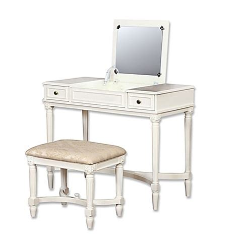 bed bath and beyond vanity linon home cyndi 2 piece vanity set in white bed bath