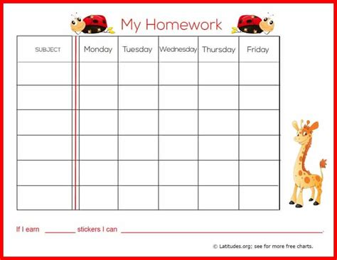 Teachers Homework Recorder by Free Weekly Homework Sticker Chart Primary Acn Latitudes