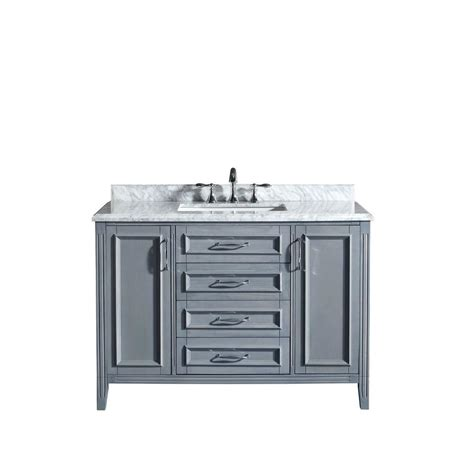 48 Bathroom Vanities With Tops Ove Decors Daniel 48 In Vanity In Gray With Marble Vanity Top In Carrara White Daniel 48 Grey