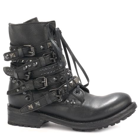 black leather biker boots ash rebel biker boots black leather black studs