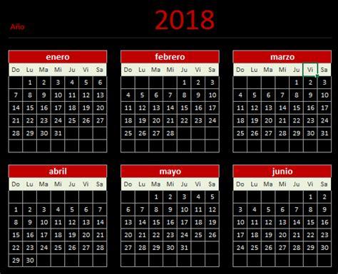 Calendario 2018 Nicaragua Calendario 2018 En Excel Aplica Excel Contable