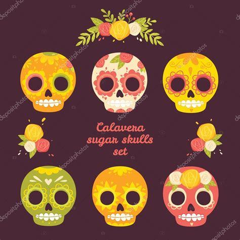 imagenes de calaveras en caricatura d 237 a de lo muertos colorido vector conjunto de cr 225 neos