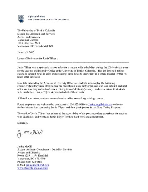 Acceptance Letter Ubc Reference Letter The Of Columbia Justin Tillyer